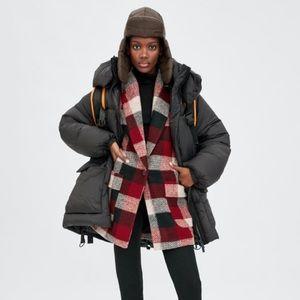 Zara Plaid Red Oversized Jacket XS TRF